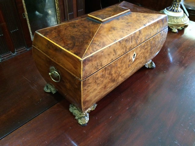 Sheraton Burl Walnut Bombe Tea Caddy