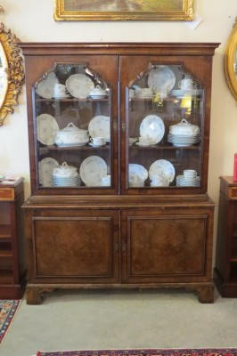 Queen Anne Style Walnut Bookcase Cabinet