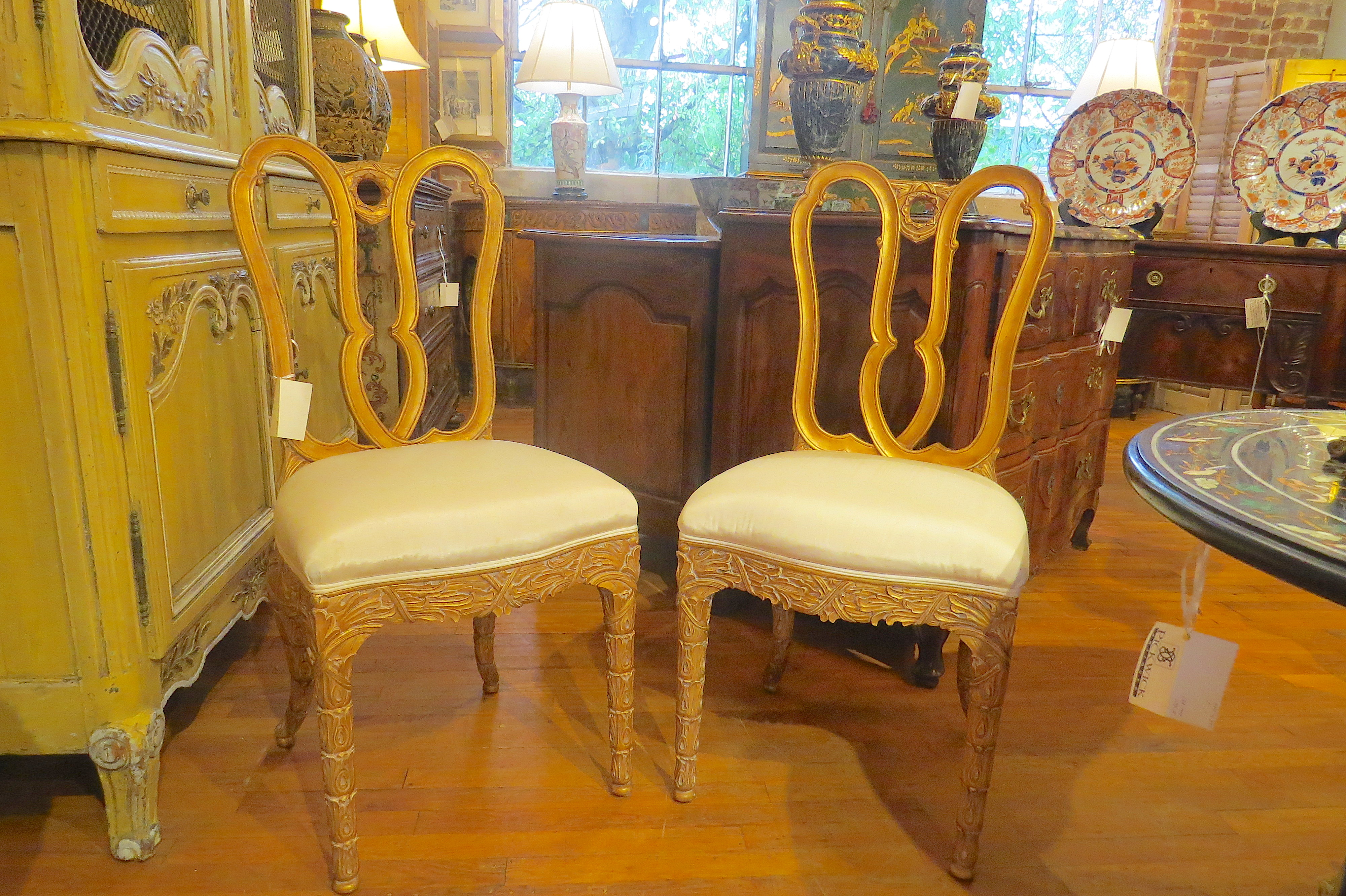 Set of Four Gilt Wood Carved Side Chairs