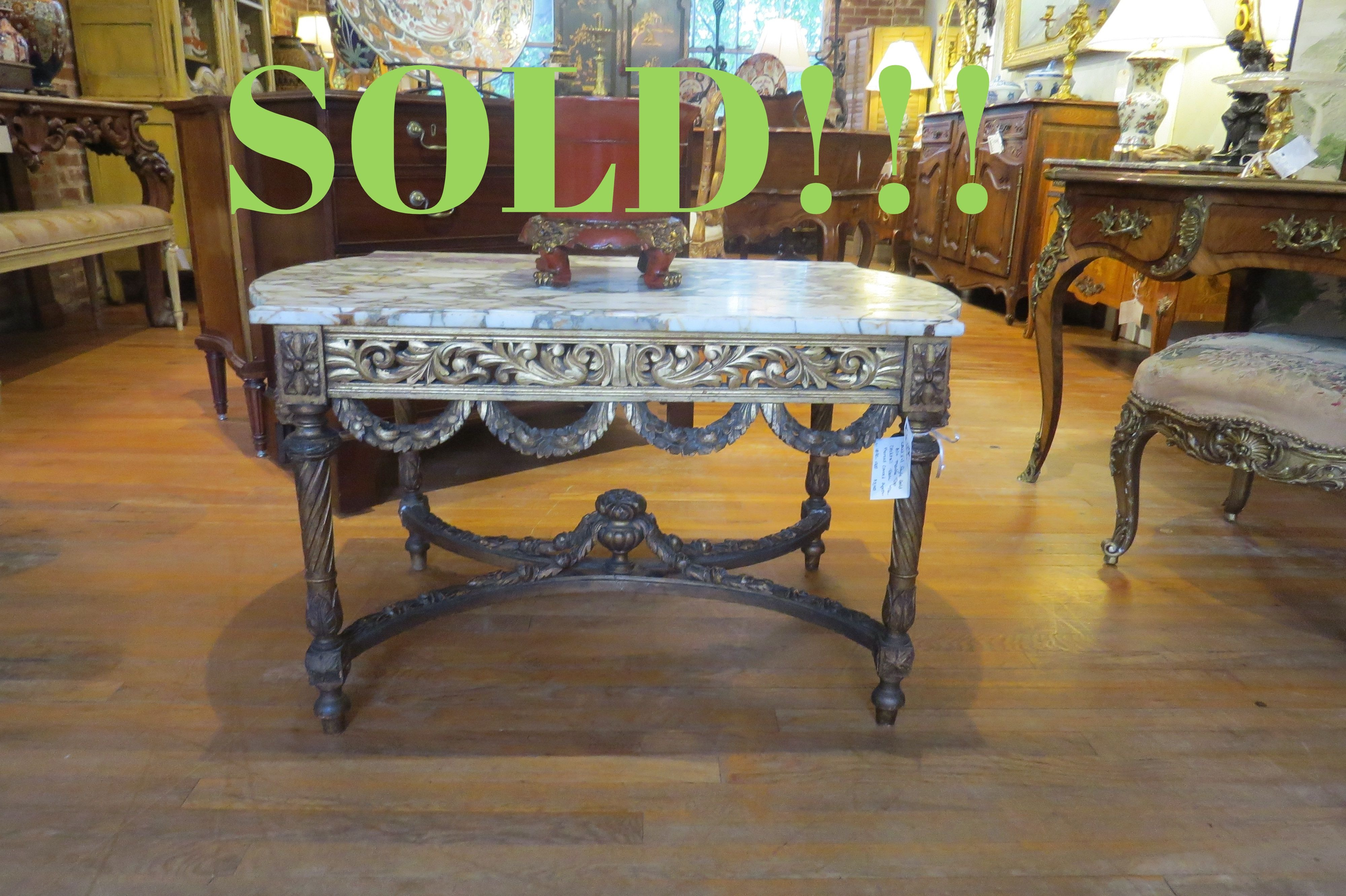 Louis XVI Style Gold Gilt Marble Top Cocktail Table  (SOLD)