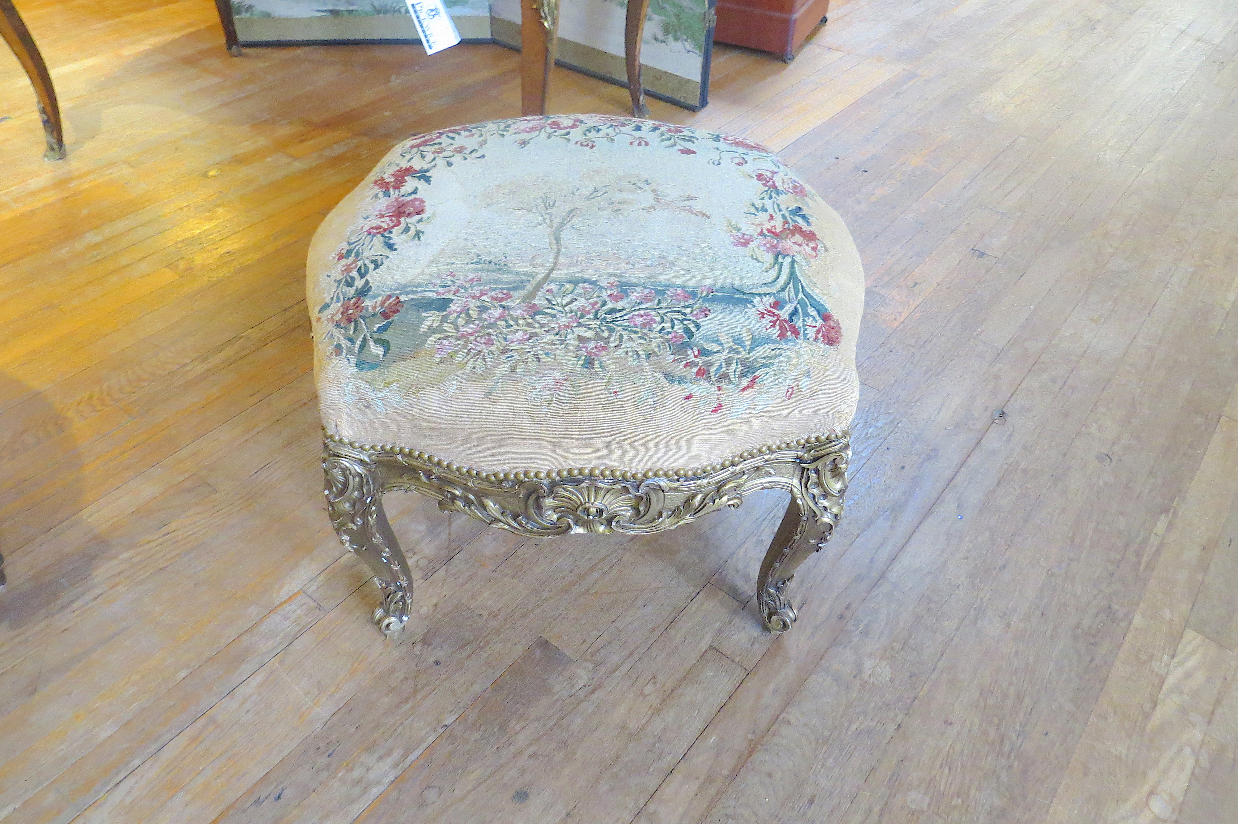 Gold Gilt Stool with Needlepoint Tapestry