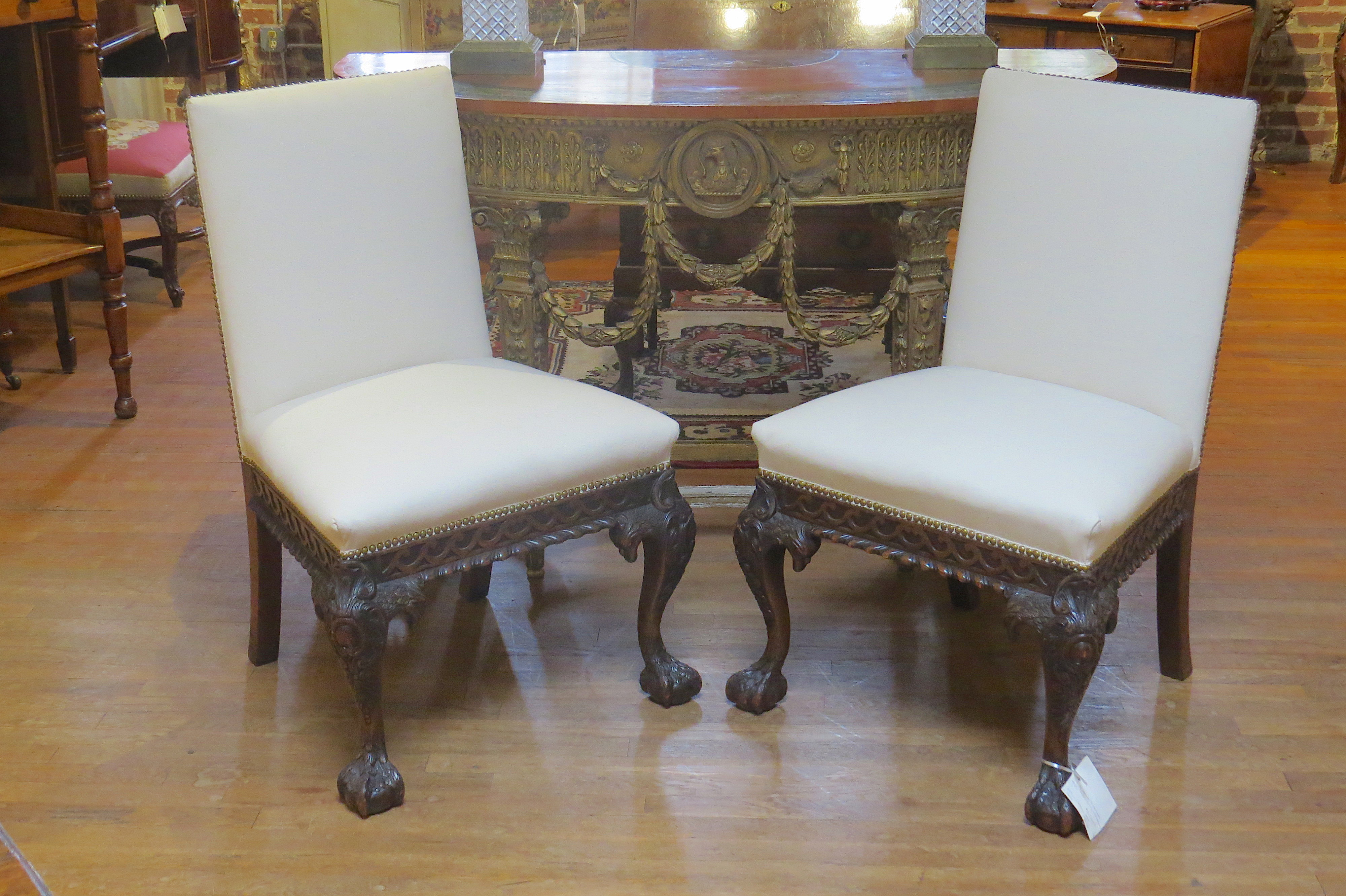 Pair of Irish Chippendale Style Mahogany Chairs