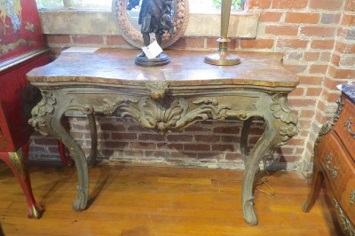 Pair of Italian Serpentine Front Console Tables
