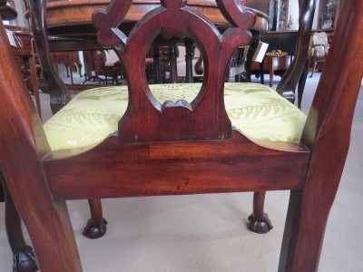 Pair of George II Chippendale Style Mahogany Armchairs