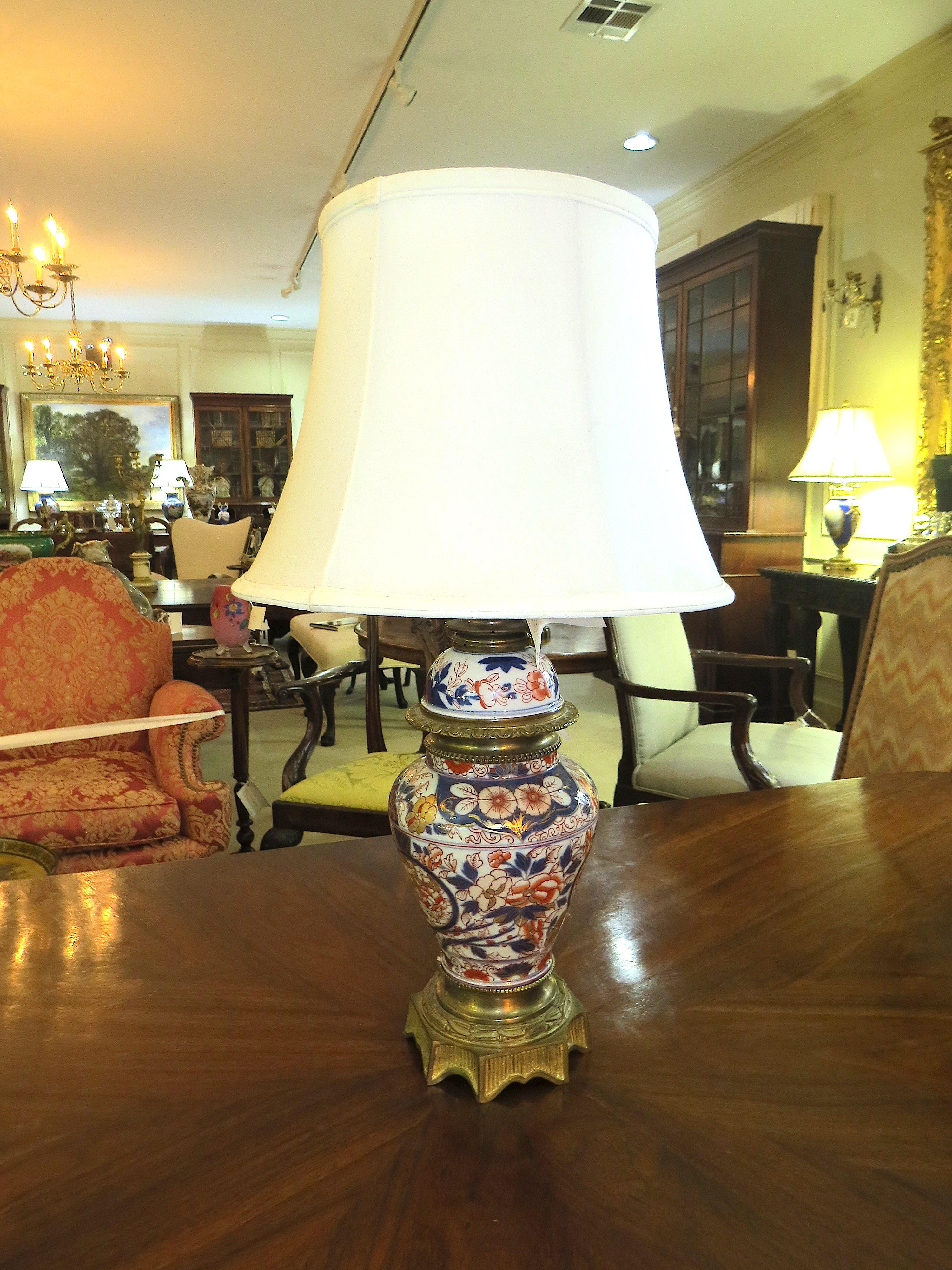 Bronze Mounted Japanese Imari Porcelain Lamp