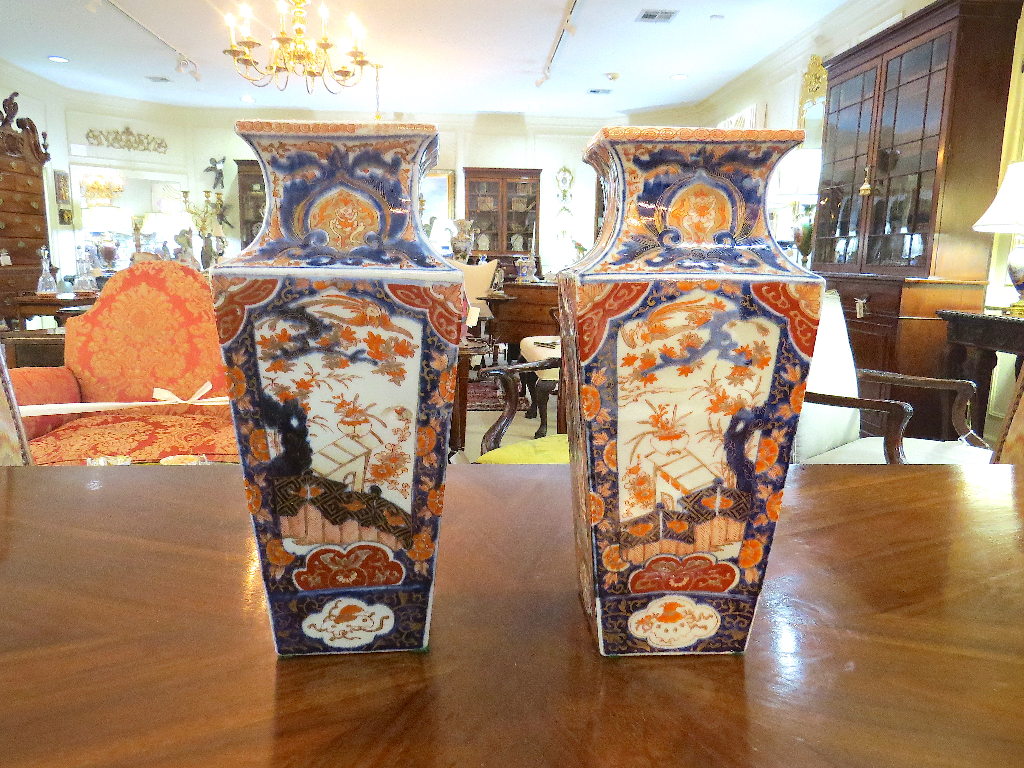 Pair of Japanese Imari Square Section Vases