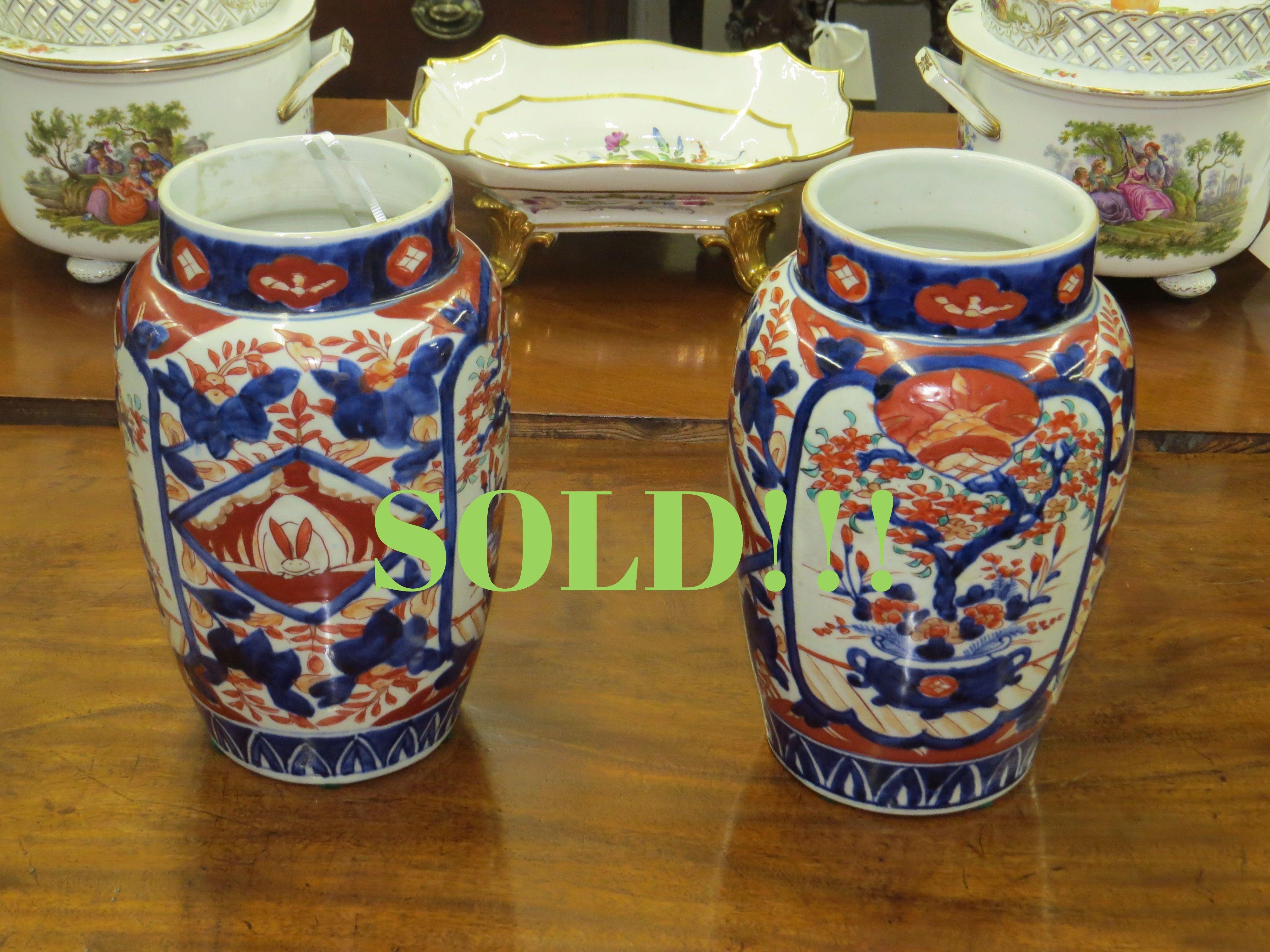 Pair of Japanese Imari Open Vases  (SOLD)