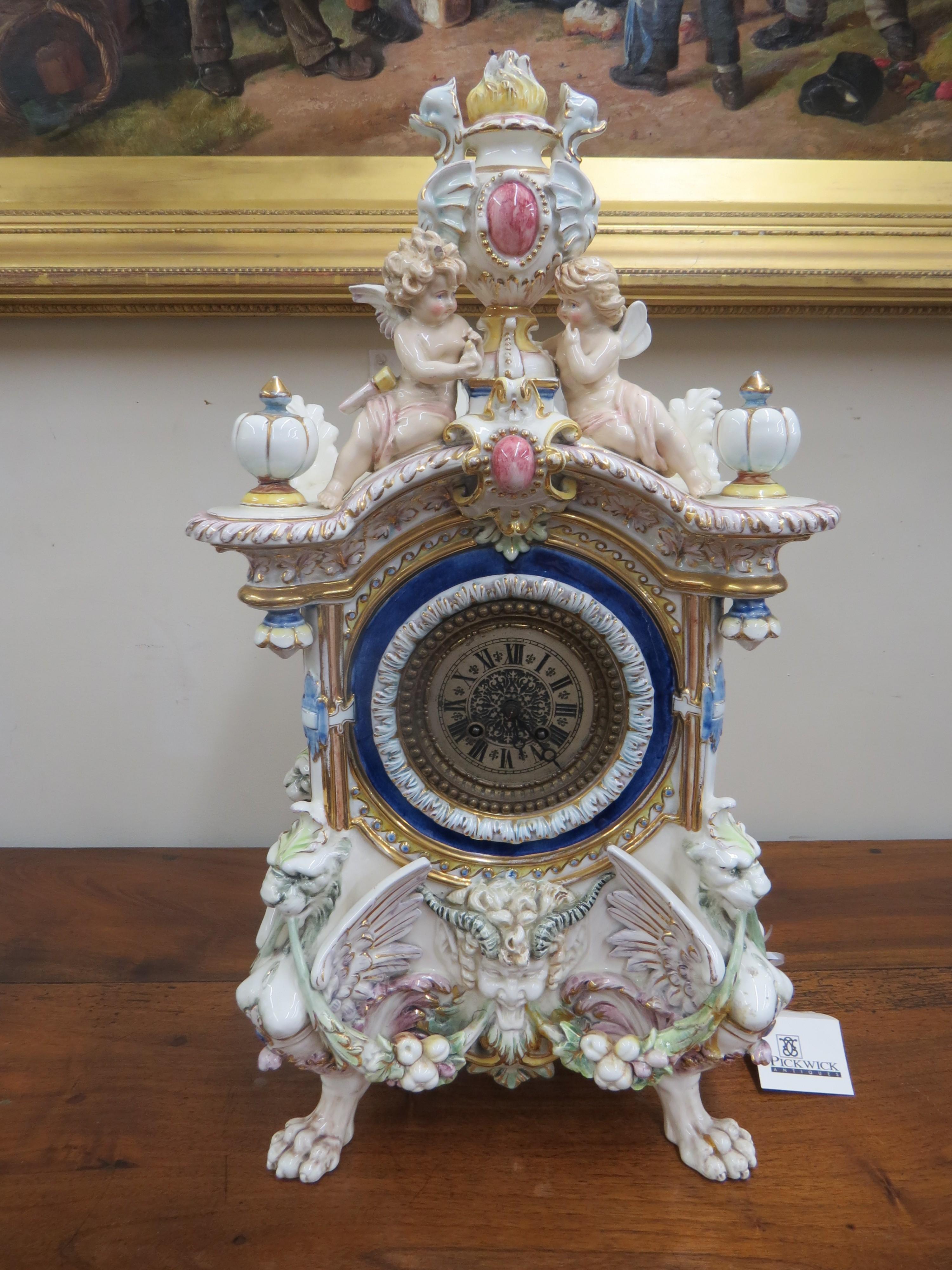Renaissance Style Hand Painted Porcelain Clock
