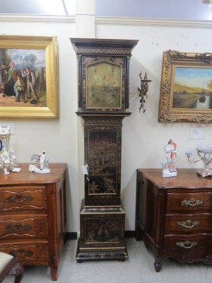 "Chinoiserie Grandfather Clock Signed ""Maple of London"""