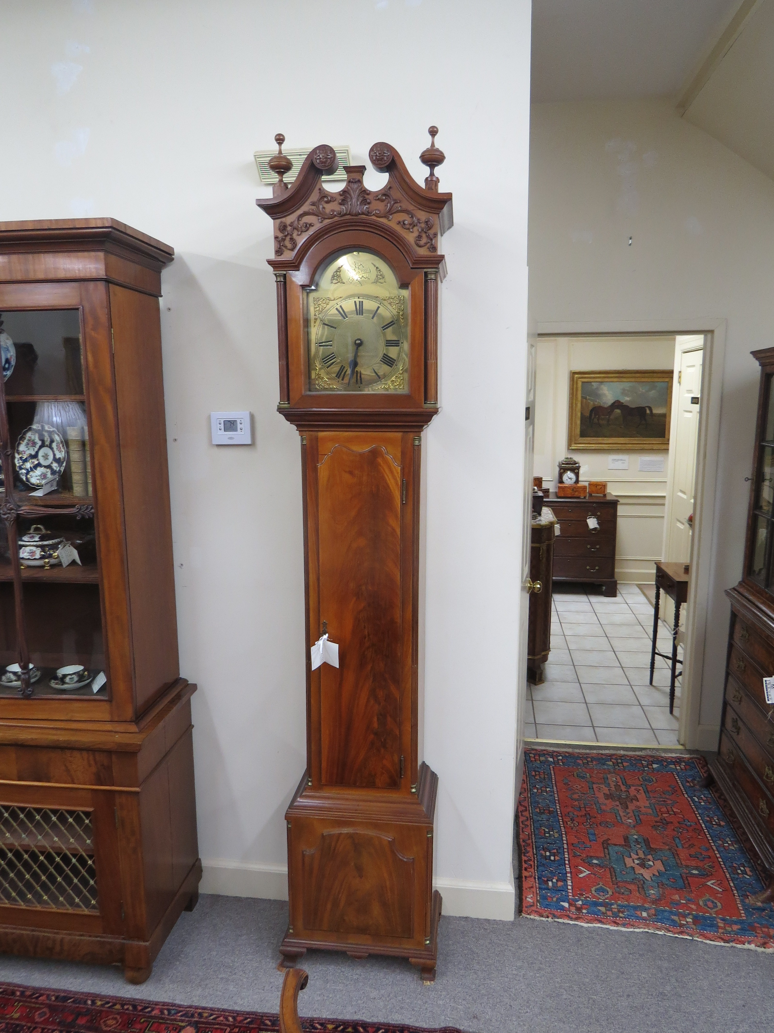 "Georgian Style Mahogany Grandfather Clock, ""Tempus Fugit"""
