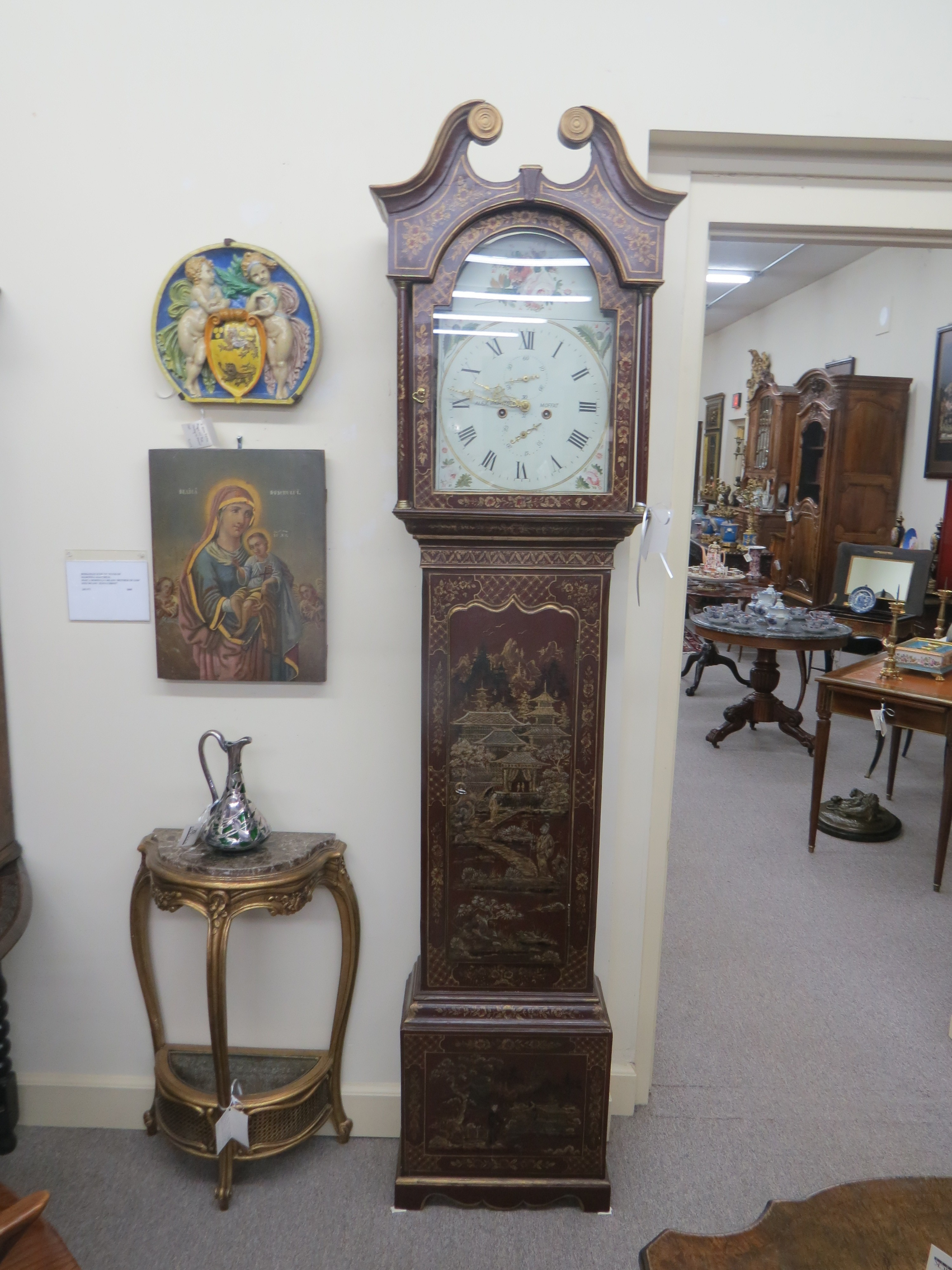 Scottish long case clock in a chinoiserie cabinet by Alex Wightman
