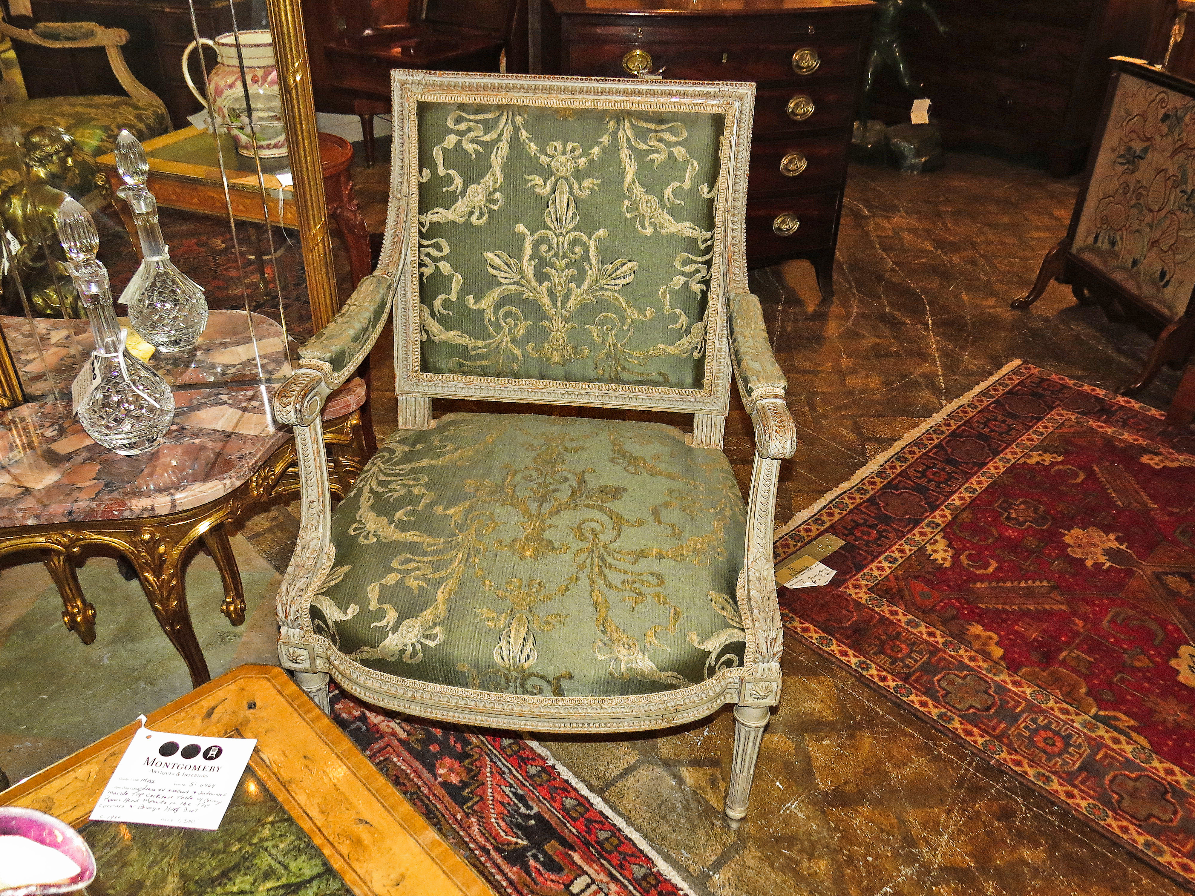 Pair of Louis XVI Style Fauteuils with matching Canape