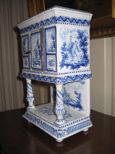 Blue And White Miniature Porcelain Cabinet