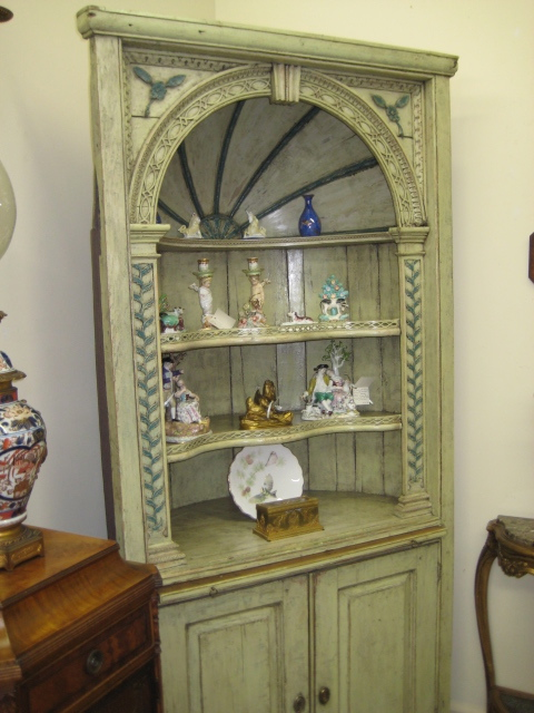 George III Painted Display Corner Cupboard