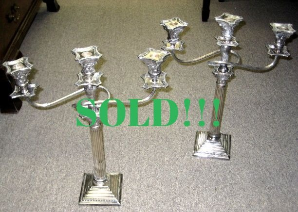 Pair Of English Three Branch Silver Plated Candelabra  (SOLD)