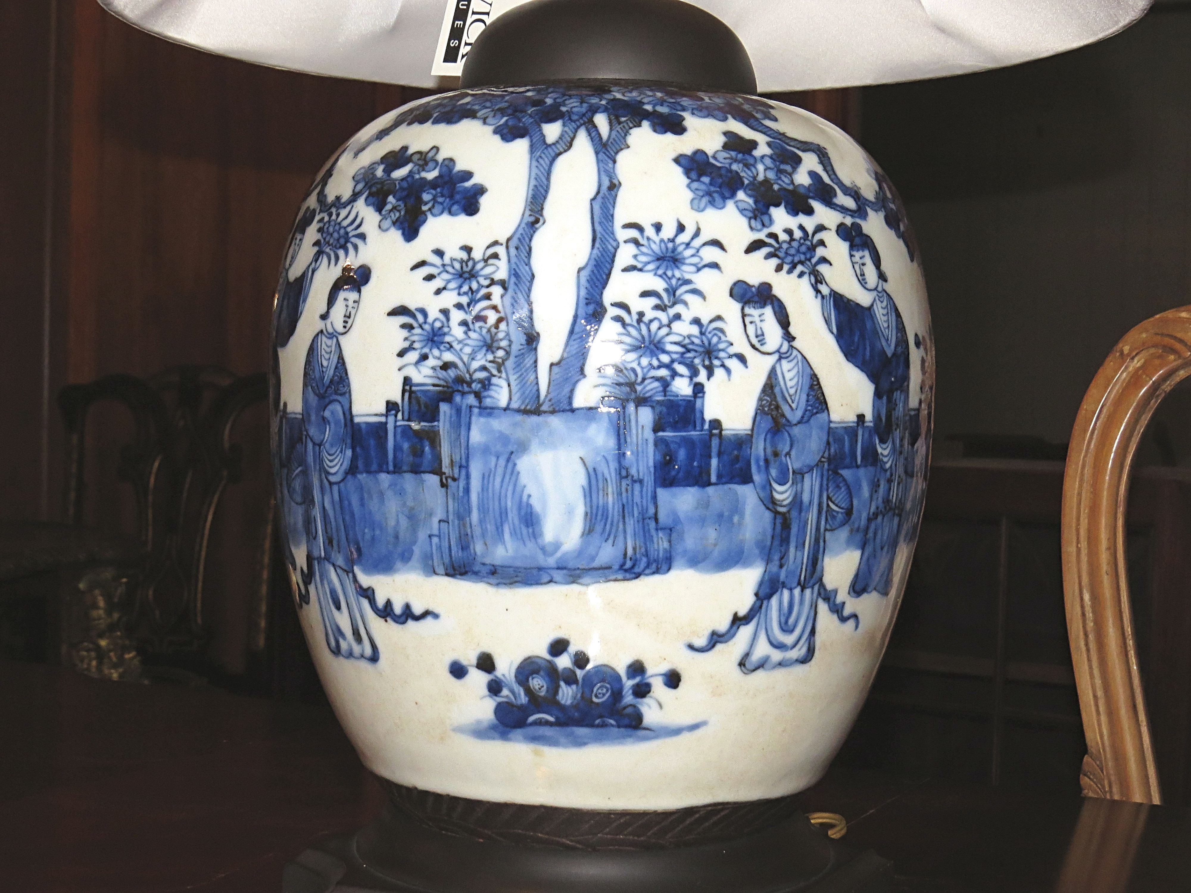 Chinese Import Blue & White Vase Converted to Lamp