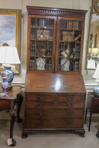An English Mahogany Bureau Bookcase