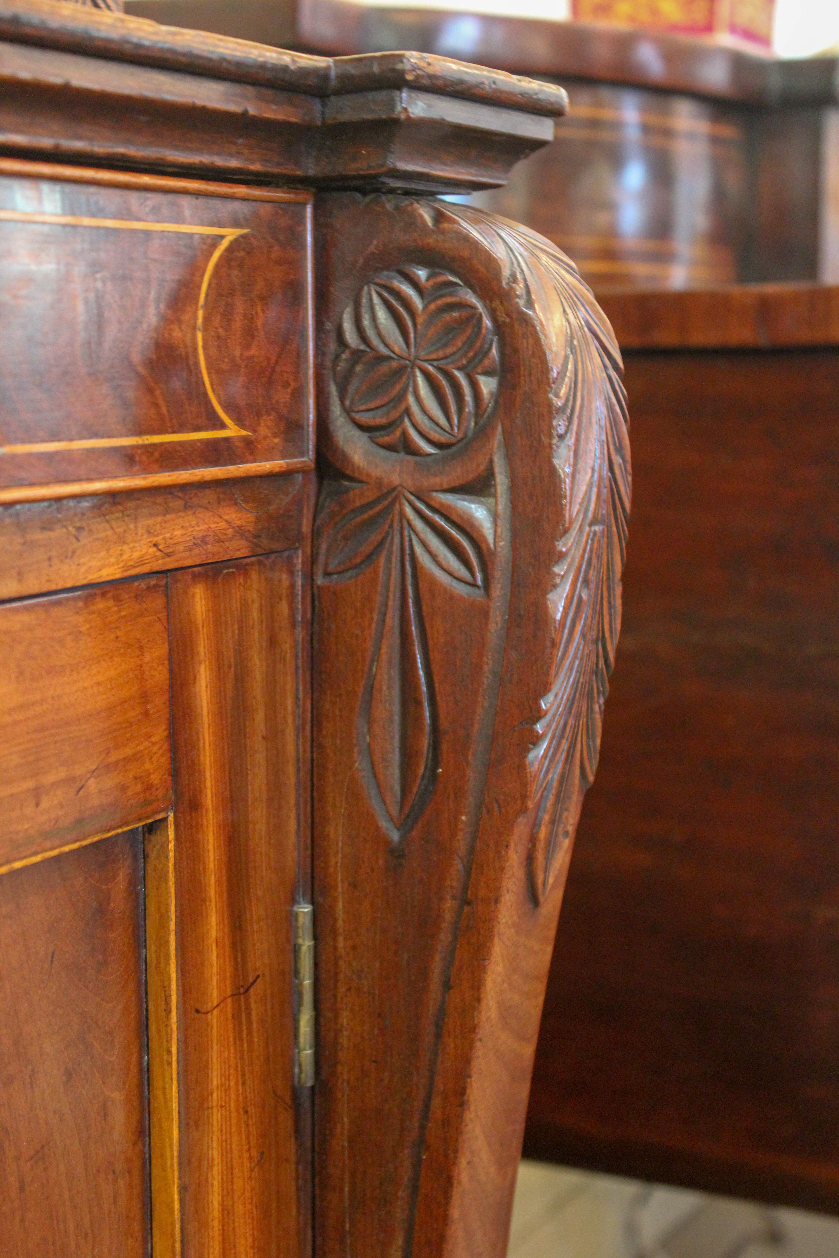 An English Mahogany Bookcase Cabinet with Satinwood Inlay