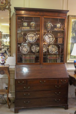An English Georgian Mahogany Bureau Bookcase