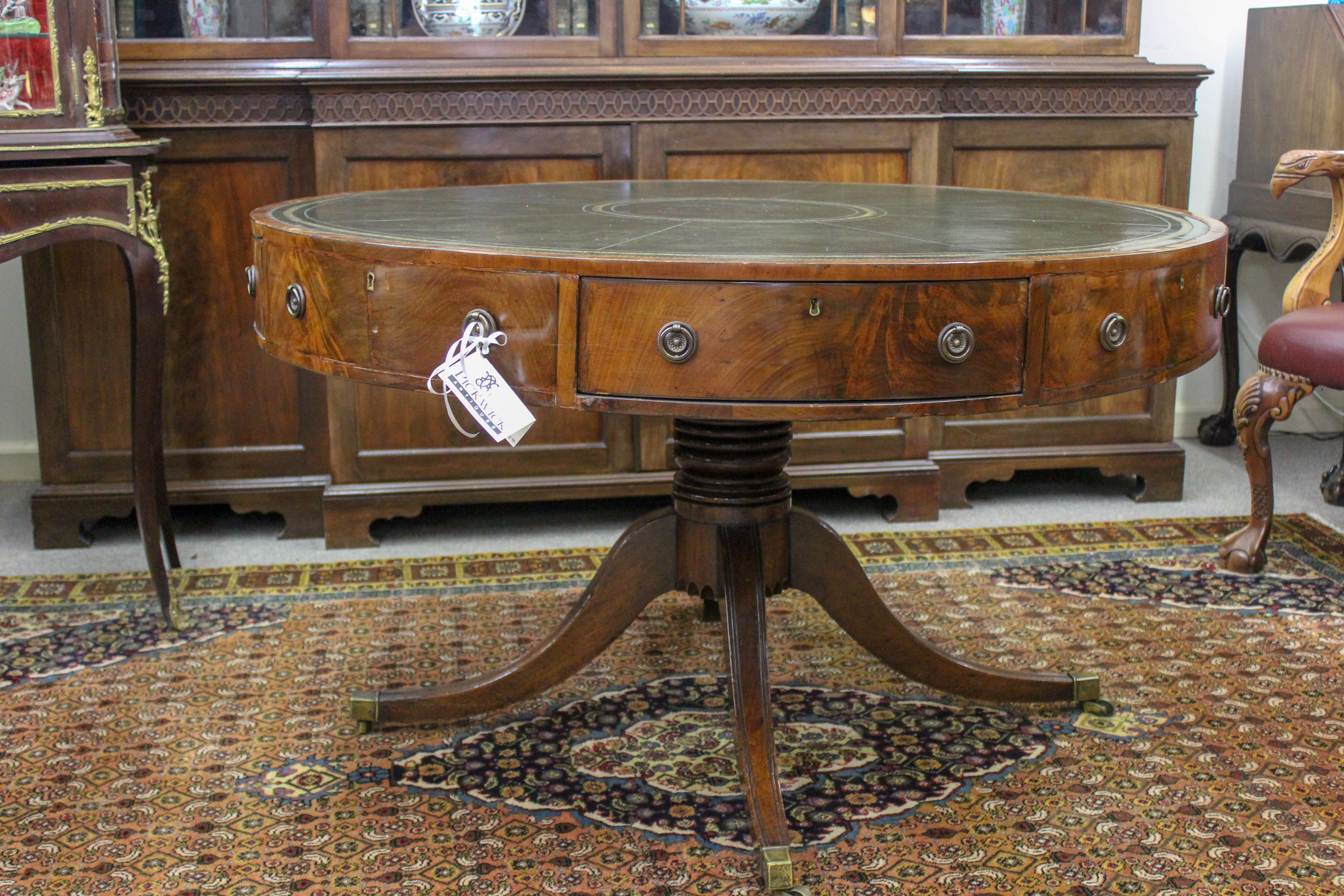 An English George III Inlaid Mahogany Drum Table
