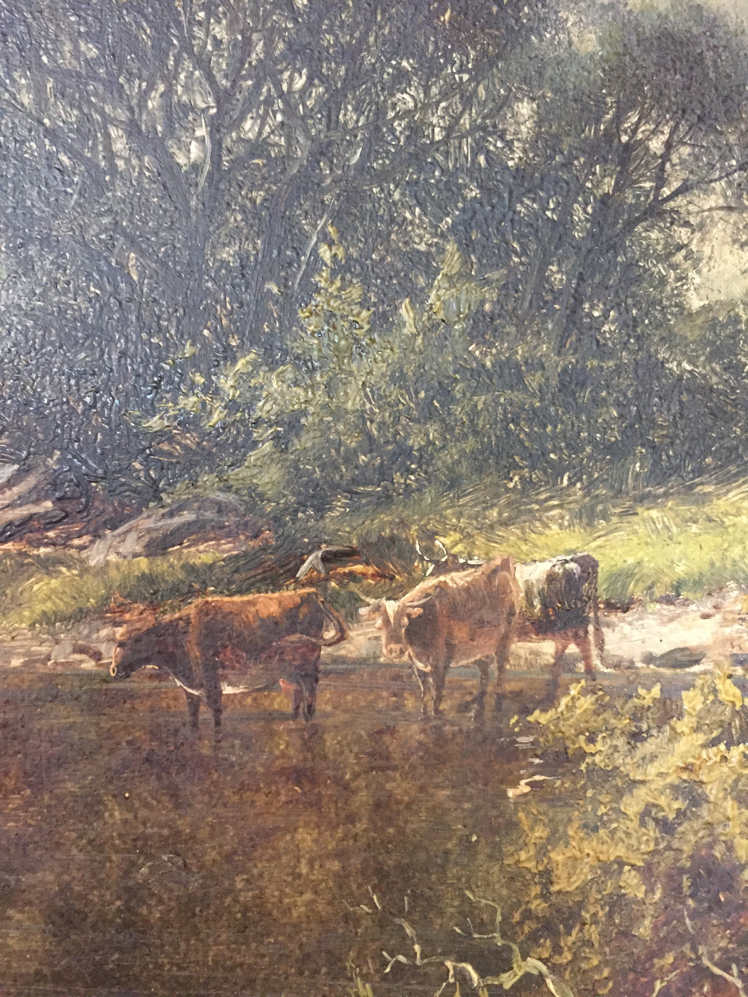 Oil on Canvas of an English Landscape with River & Cattle, Signed W.H. Mander
