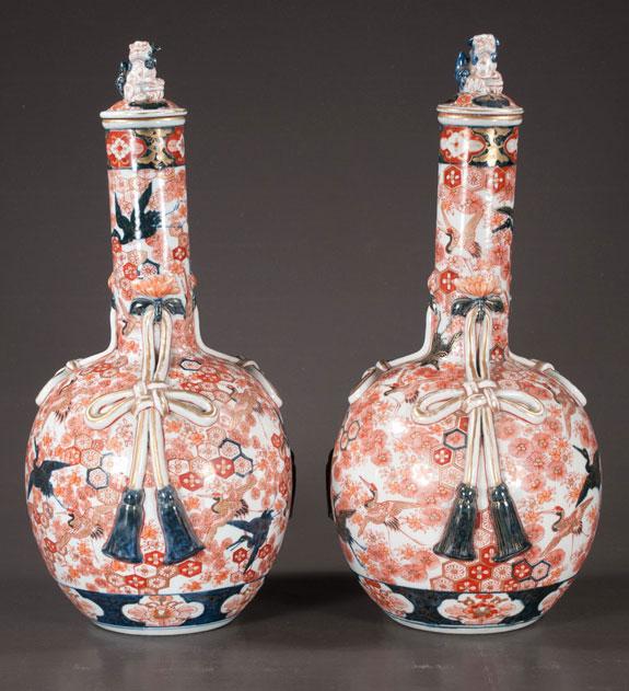 Unusual Pair Of Imari Porcelain Vases