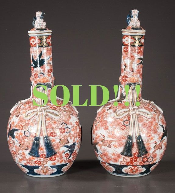 Unusual Pair Of Imari Porcelain Vases  (SOLD)