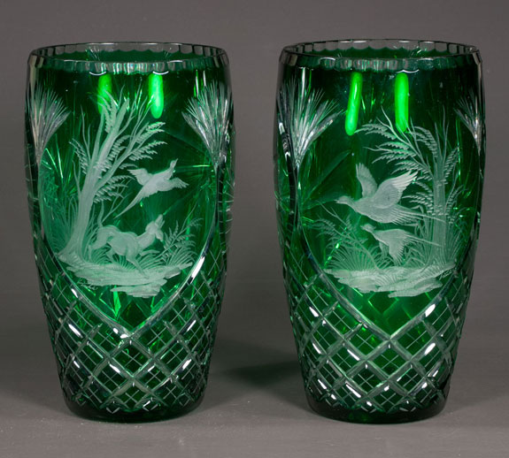 Pair Of Green Overlay Vases