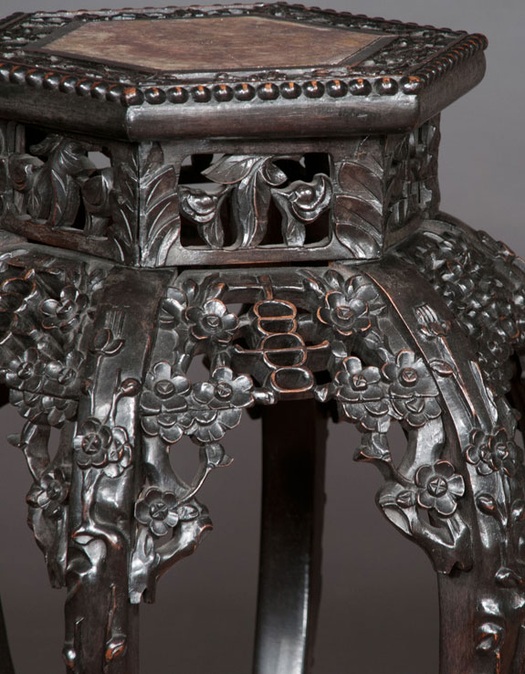 Exceptional Chinese Carved Teakwood Pedestal