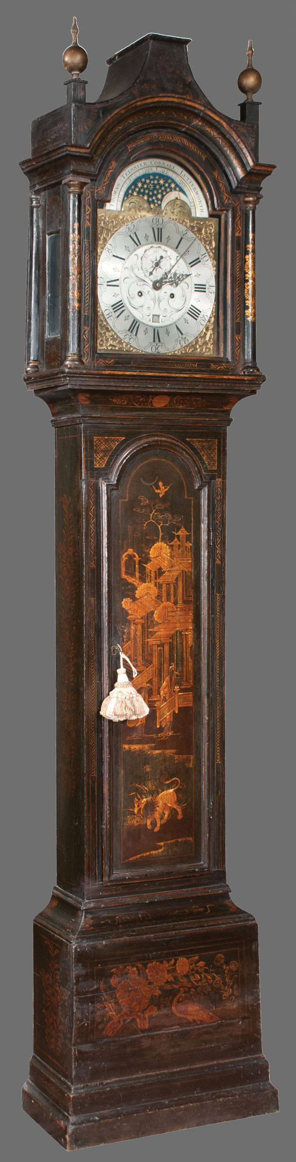 Black And Gold Georgian Chinoiserie Lacquered Grandfather Clock