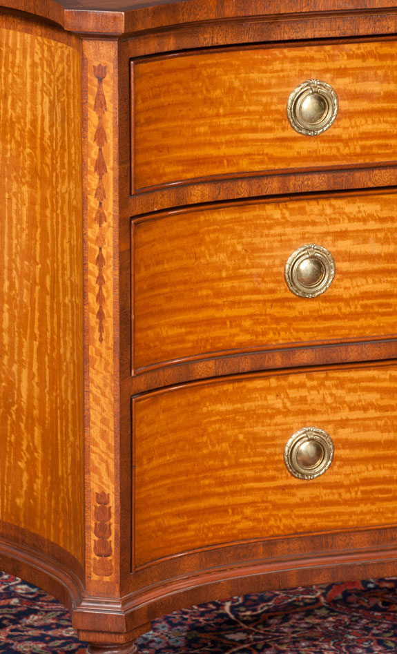 Sheraton Style Serpentine Front Satinwood Commode