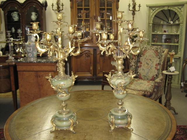 Pair Of Bronze Mounted Candelabras