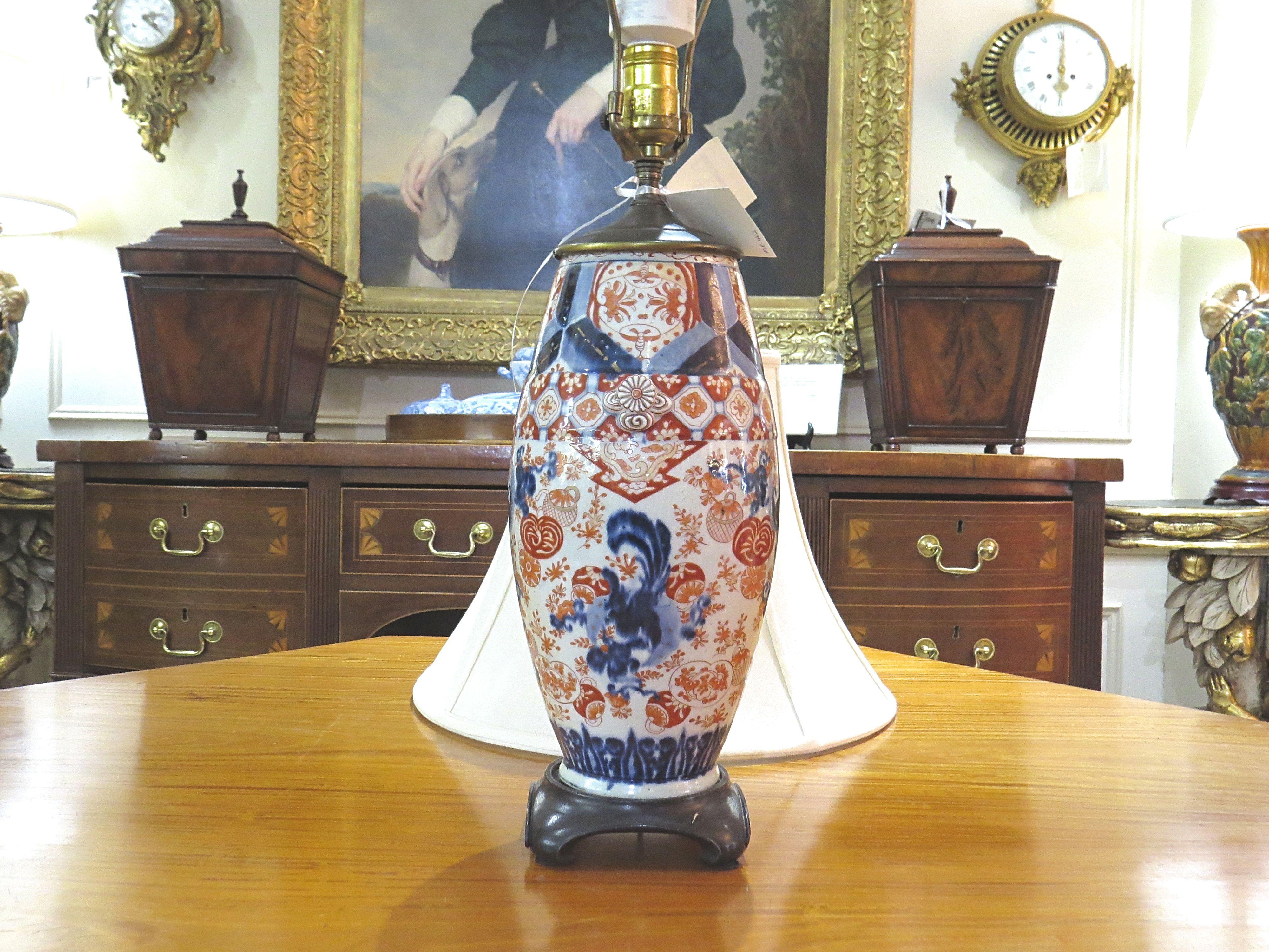 Imari Style Porcelain Vase Lamp