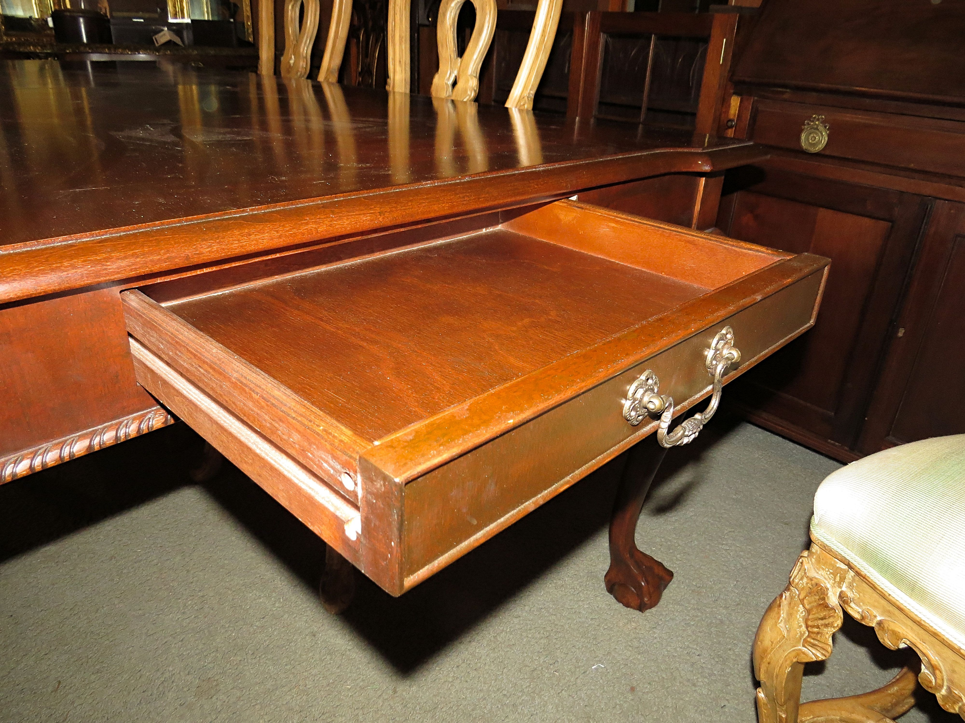 Mahogany Dining Table with Silverware Drawers