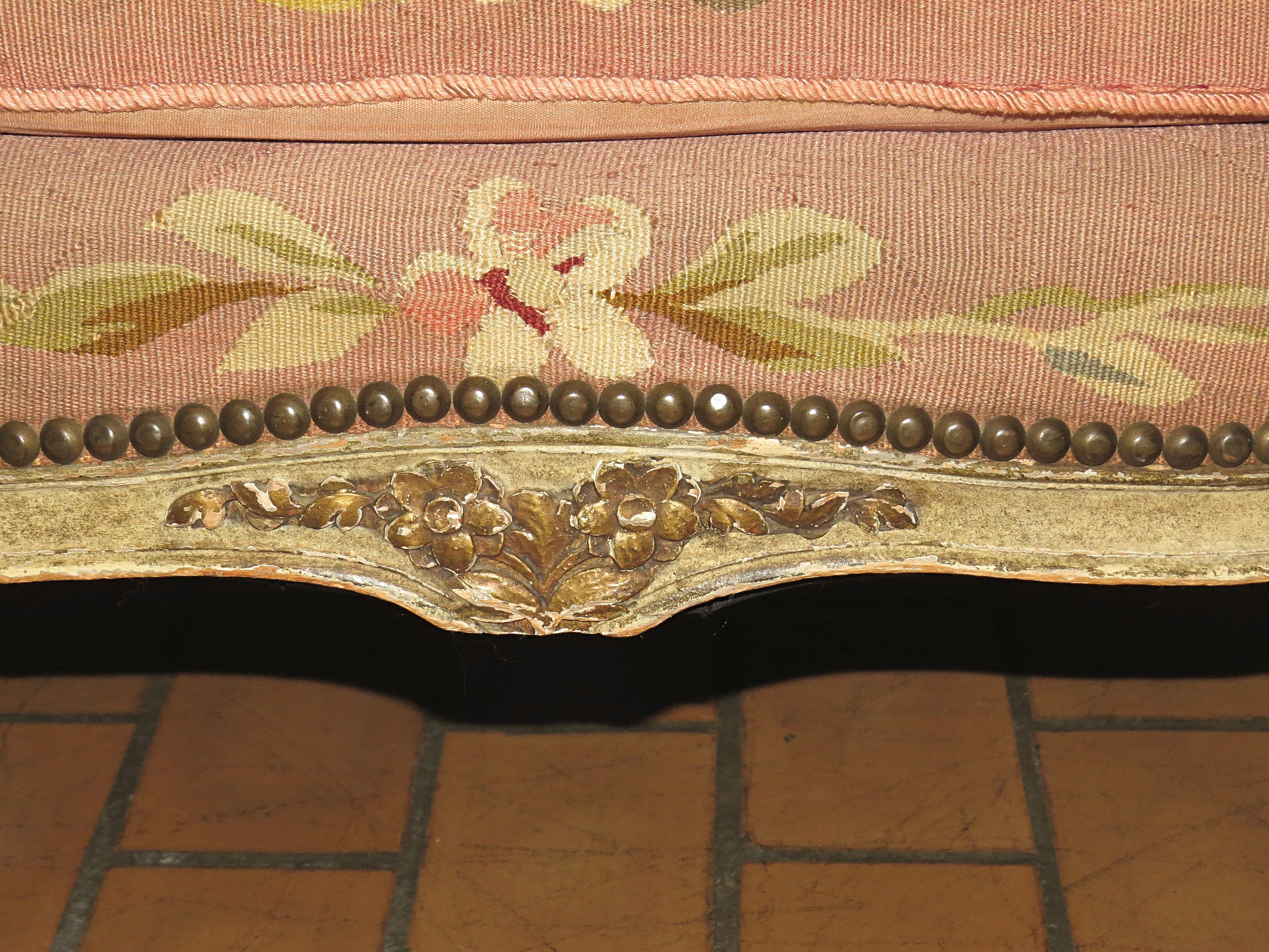Louis XVI Style Settee with Petit-Point Needlework Upholstery