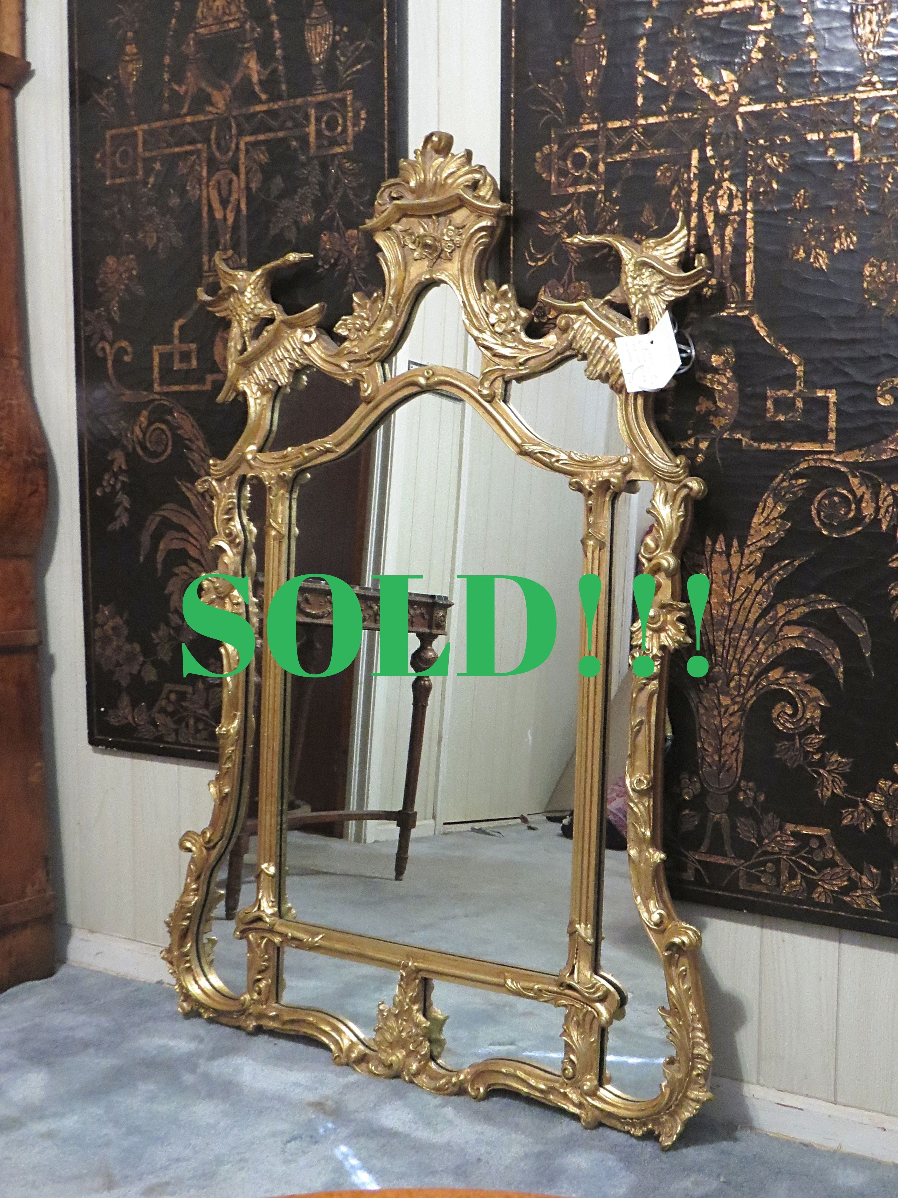 Chippendale Style Decorative Gold and Gilt Mirror  (SOLD)