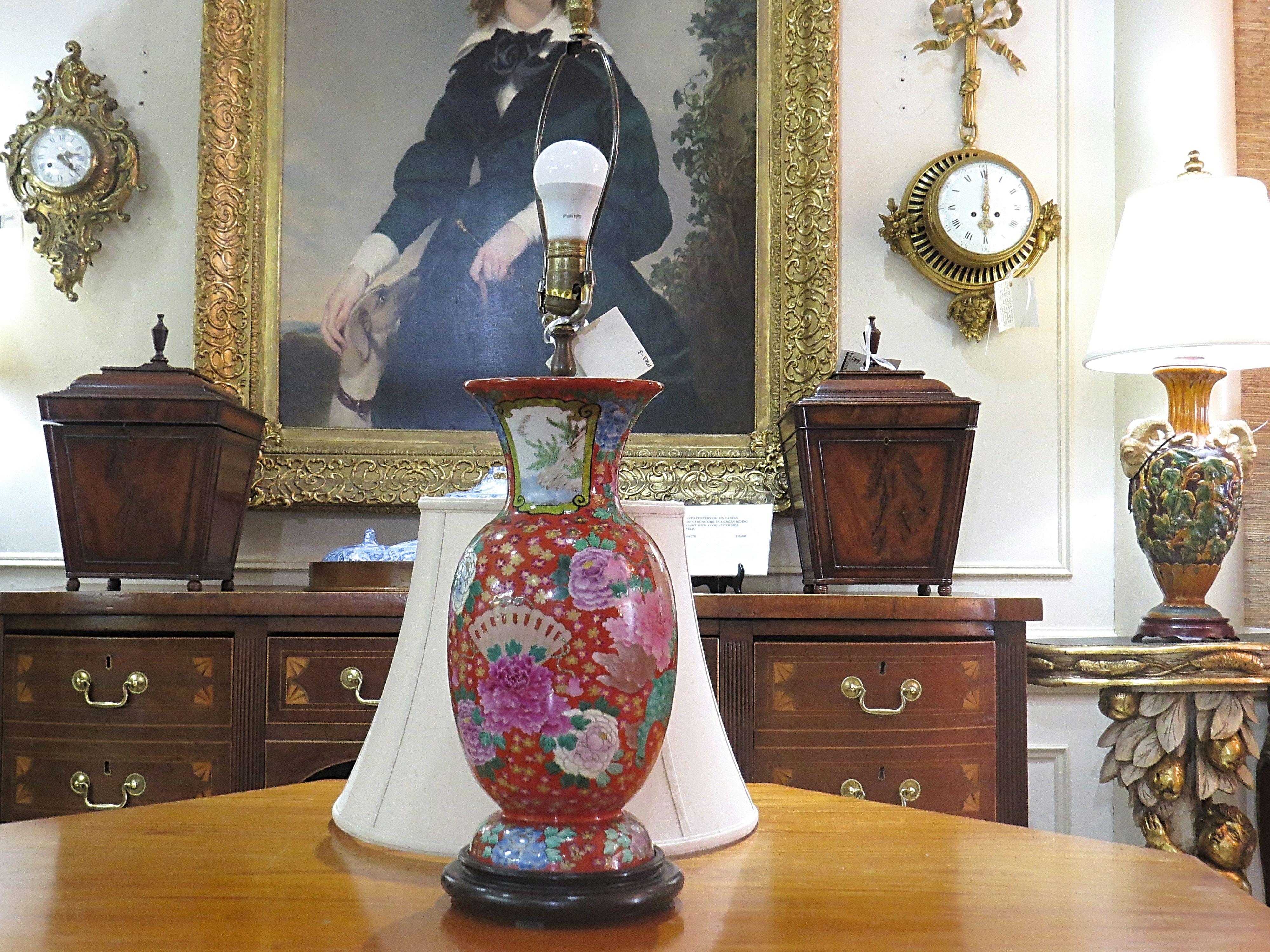 An Oriental Porcelain Vase Lamp