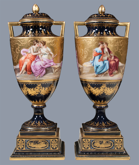 Pair of Royal Vienna Porcelain Capped Urns