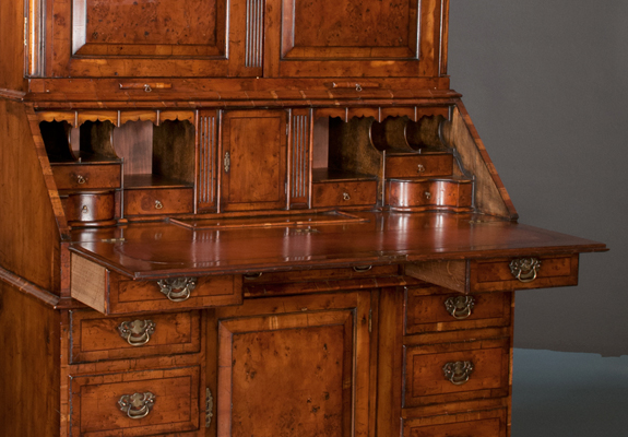 Queen Anne Yew Wood Bonnet Top Bureau Bookcase