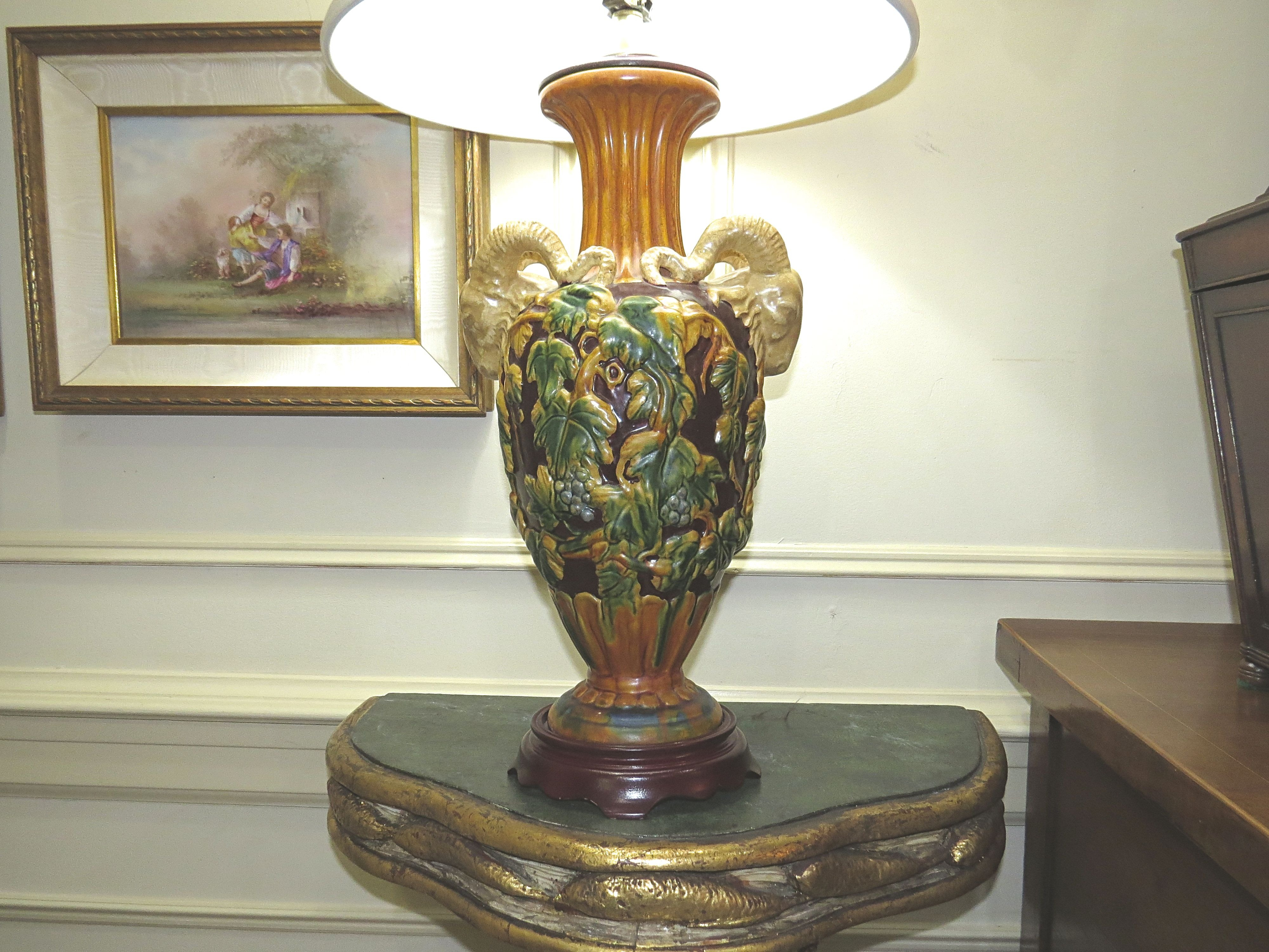 A Pair of Majolica Inspired Porcelain Lamps