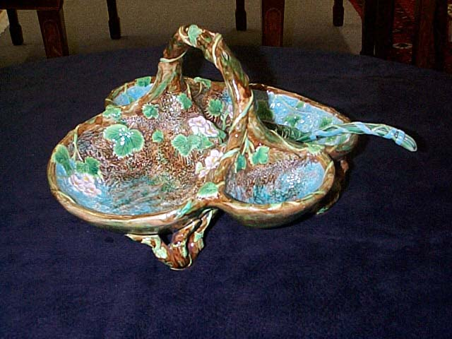 A George Jones Majolica Strawberry Server And Ladle.