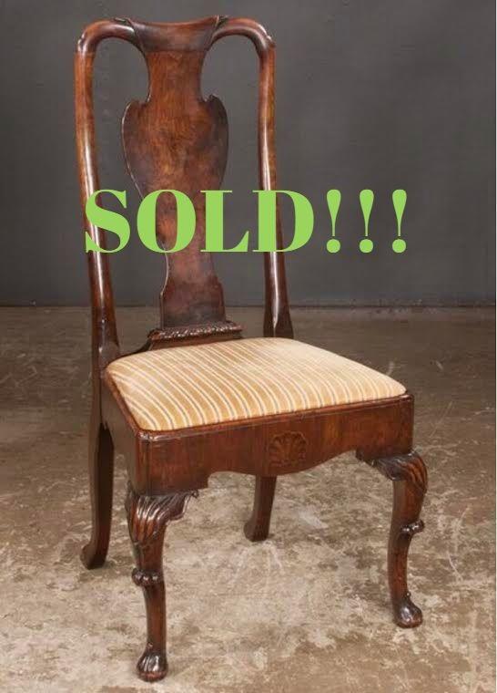Irish Queen Anne Walnut Side Chair  (SOLD)