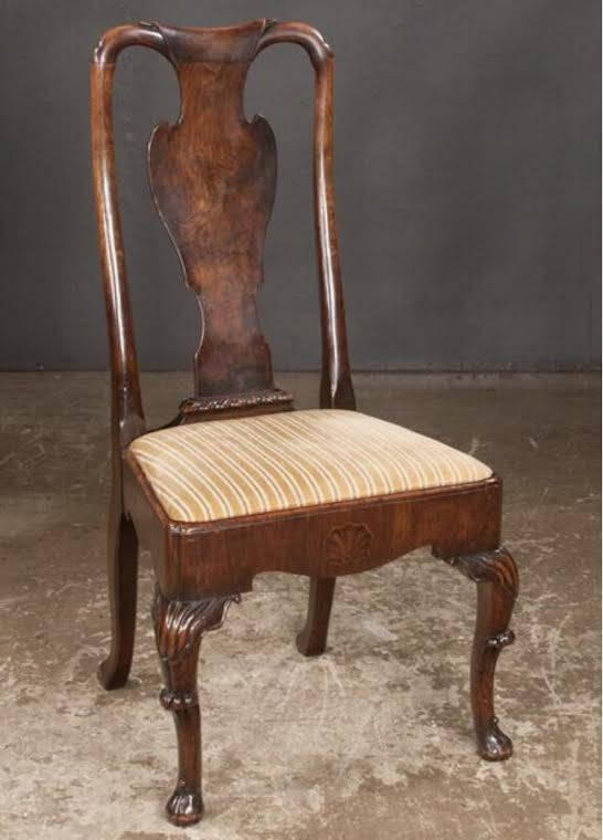 Irish Queen Anne Walnut Side Chair