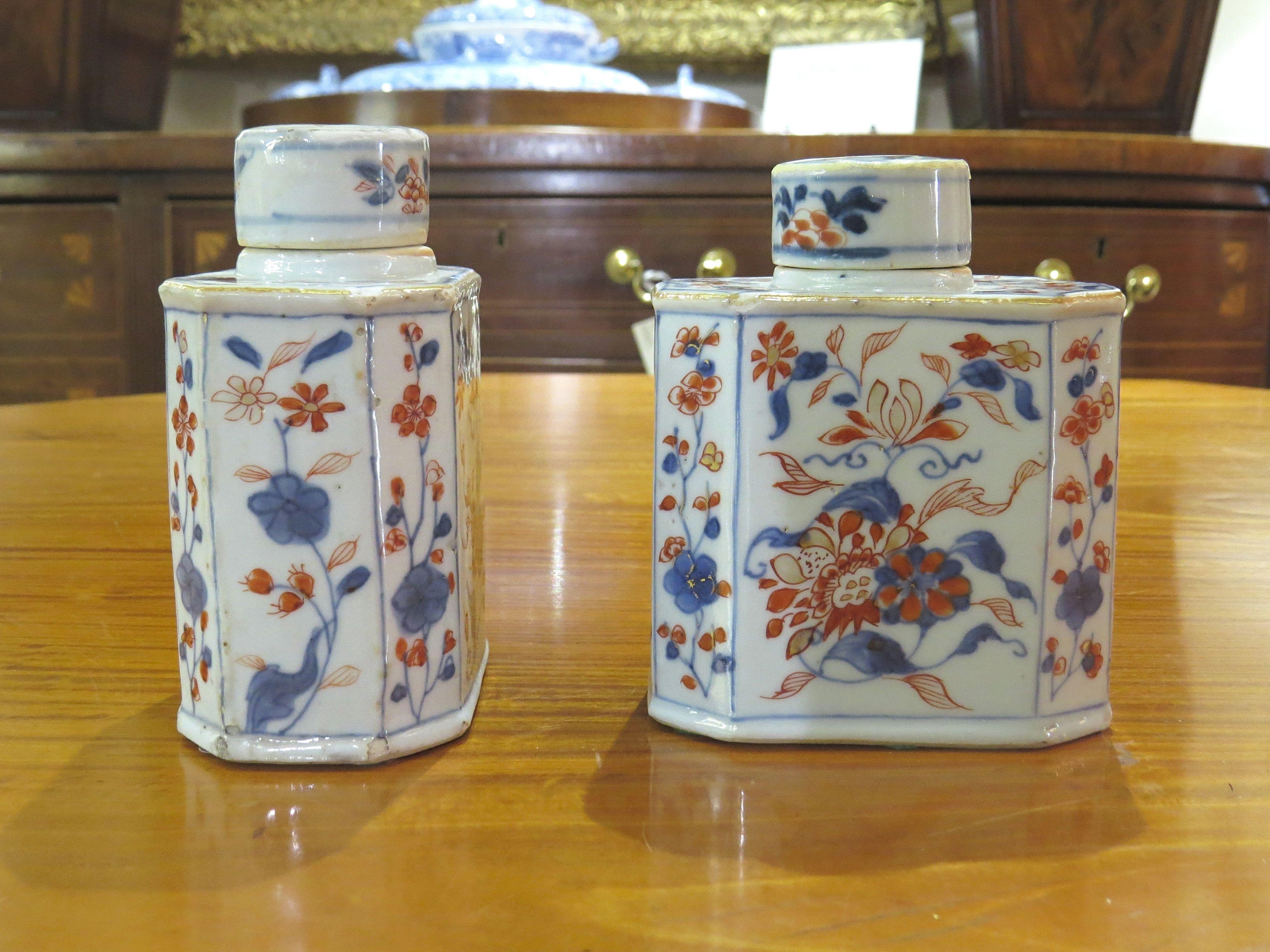 Pair of Chinese Imari Porcelain Tea Caddies w/ Covers