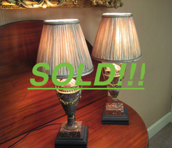 Pair Of Louis XVI Style Marble Lamps  (SOLD)