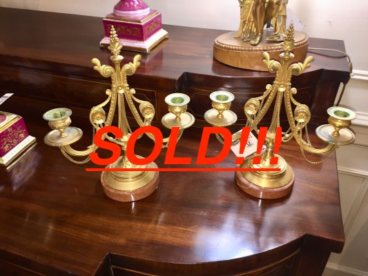Bronze Doré Two Armed Candlesticks  (SOLD!!!)
