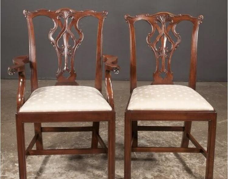 Set of Eight Chippendale Style Mahogany Dining Chairs  (SOLD)