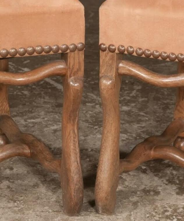 Set of Six Country French Oak and Elm Dining Chairs