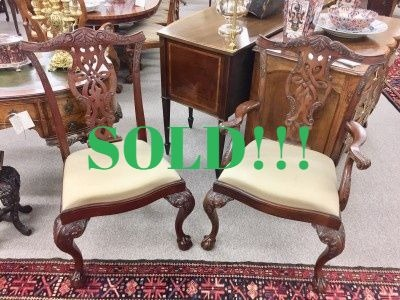 Set of 10 Chippendale Style Mahogany Dining Chairs  (SOLD)