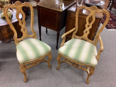Set of Six Hand-Carved English Rococo Style Dining Chairs